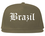 Brazil Indiana IN Old English Mens Snapback Hat Grey