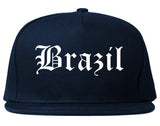Brazil Indiana IN Old English Mens Snapback Hat Navy Blue