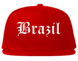 Brazil Indiana IN Old English Mens Snapback Hat Red
