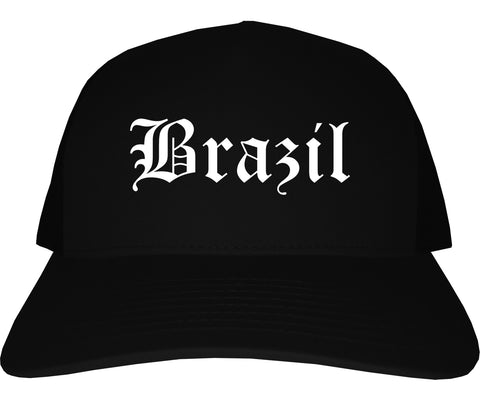 Brazil Indiana IN Old English Mens Trucker Hat Cap Black