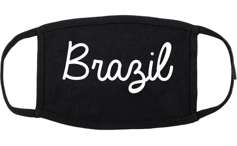 Brazil Indiana IN Script Cotton Face Mask Black