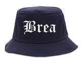 Brea California CA Old English Mens Bucket Hat Navy Blue
