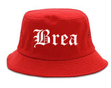 Brea California CA Old English Mens Bucket Hat Red
