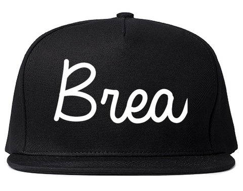 Brea California CA Script Mens Snapback Hat Black