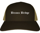 Breaux Bridge Louisiana LA Old English Mens Trucker Hat Cap Brown