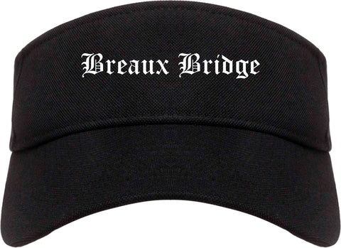 Breaux Bridge Louisiana LA Old English Mens Visor Cap Hat Black