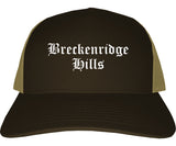 Breckenridge Hills Missouri MO Old English Mens Trucker Hat Cap Brown