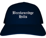 Breckenridge Hills Missouri MO Old English Mens Trucker Hat Cap Navy Blue