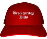 Breckenridge Hills Missouri MO Old English Mens Trucker Hat Cap Red