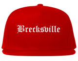 Brecksville Ohio OH Old English Mens Snapback Hat Red