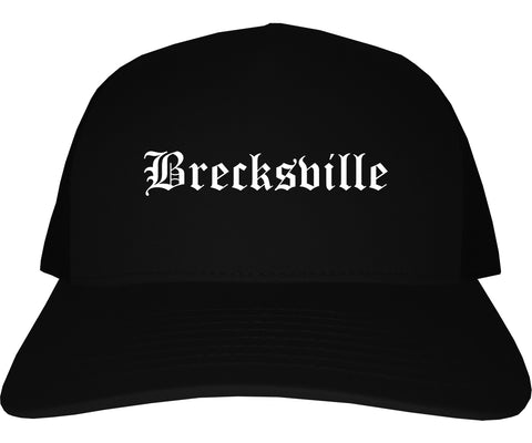 Brecksville Ohio OH Old English Mens Trucker Hat Cap Black