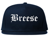 Breese Illinois IL Old English Mens Snapback Hat Navy Blue