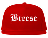 Breese Illinois IL Old English Mens Snapback Hat Red