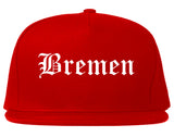 Bremen Indiana IN Old English Mens Snapback Hat Red