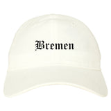 Bremen Indiana IN Old English Mens Dad Hat Baseball Cap White