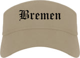 Bremen Indiana IN Old English Mens Visor Cap Hat Khaki