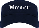 Bremen Indiana IN Old English Mens Visor Cap Hat Navy Blue
