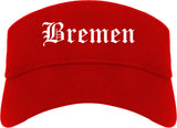 Bremen Indiana IN Old English Mens Visor Cap Hat Red