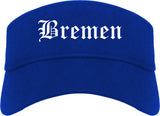 Bremen Indiana IN Old English Mens Visor Cap Hat Royal Blue