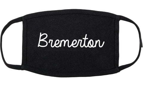 Bremerton Washington WA Script Cotton Face Mask Black