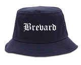 Brevard North Carolina NC Old English Mens Bucket Hat Navy Blue