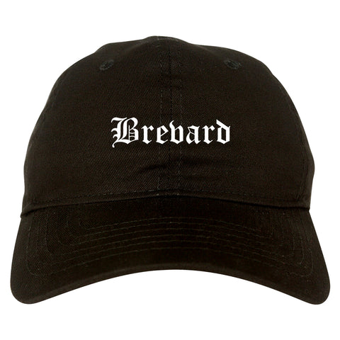 Brevard North Carolina NC Old English Mens Dad Hat Baseball Cap Black
