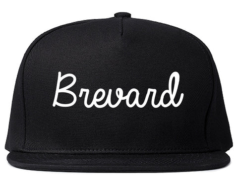 Brevard North Carolina NC Script Mens Snapback Hat Black