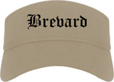 Brevard North Carolina NC Old English Mens Visor Cap Hat Khaki