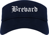 Brevard North Carolina NC Old English Mens Visor Cap Hat Navy Blue