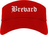 Brevard North Carolina NC Old English Mens Visor Cap Hat Red
