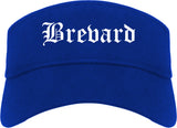 Brevard North Carolina NC Old English Mens Visor Cap Hat Royal Blue
