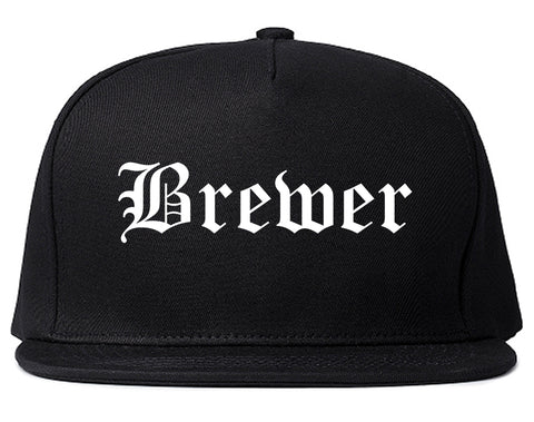 Brewer Maine ME Old English Mens Snapback Hat Black
