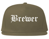 Brewer Maine ME Old English Mens Snapback Hat Grey