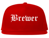 Brewer Maine ME Old English Mens Snapback Hat Red