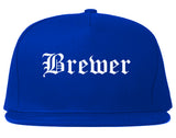 Brewer Maine ME Old English Mens Snapback Hat Royal Blue