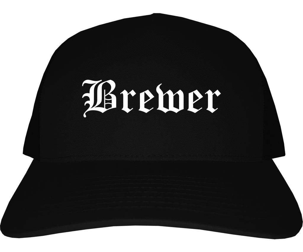 Brewer Maine ME Old English Mens Trucker Hat Cap Black