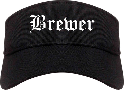 Brewer Maine ME Old English Mens Visor Cap Hat Black