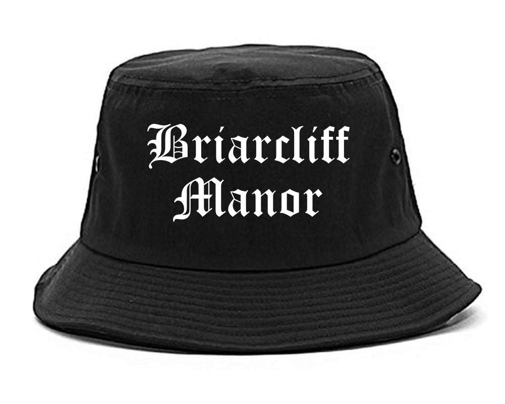 Briarcliff Manor New York NY Old English Mens Bucket Hat Black