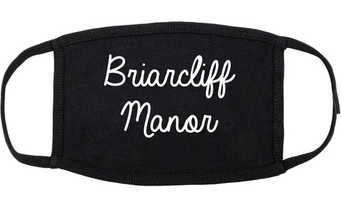 Briarcliff Manor New York NY Script Cotton Face Mask Black