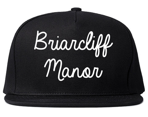 Briarcliff Manor New York NY Script Mens Snapback Hat Black