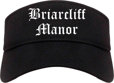 Briarcliff Manor New York NY Old English Mens Visor Cap Hat Black