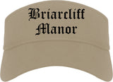 Briarcliff Manor New York NY Old English Mens Visor Cap Hat Khaki