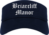 Briarcliff Manor New York NY Old English Mens Visor Cap Hat Navy Blue