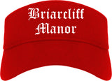 Briarcliff Manor New York NY Old English Mens Visor Cap Hat Red
