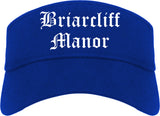 Briarcliff Manor New York NY Old English Mens Visor Cap Hat Royal Blue