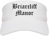 Briarcliff Manor New York NY Old English Mens Visor Cap Hat White