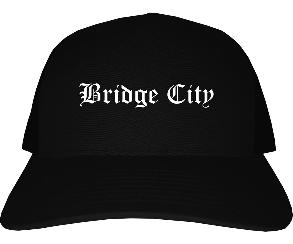 Bridge City Texas TX Old English Mens Trucker Hat Cap Black