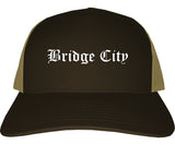 Bridge City Texas TX Old English Mens Trucker Hat Cap Brown