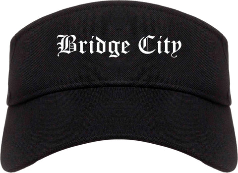 Bridge City Texas TX Old English Mens Visor Cap Hat Black