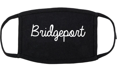 Bridgeport Connecticut CT Script Cotton Face Mask Black